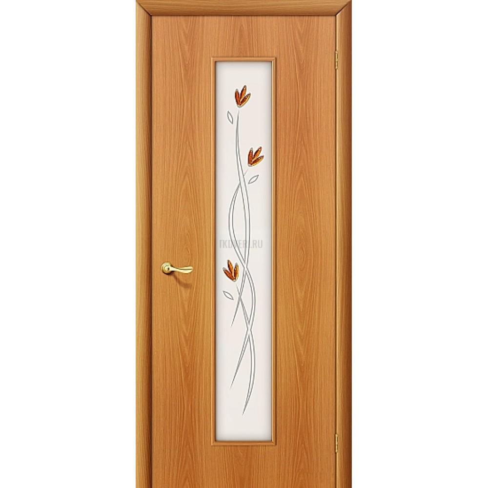 Ламинированная дверь со стеклом МДФ финиш-пленка МиланОрех 010-0201