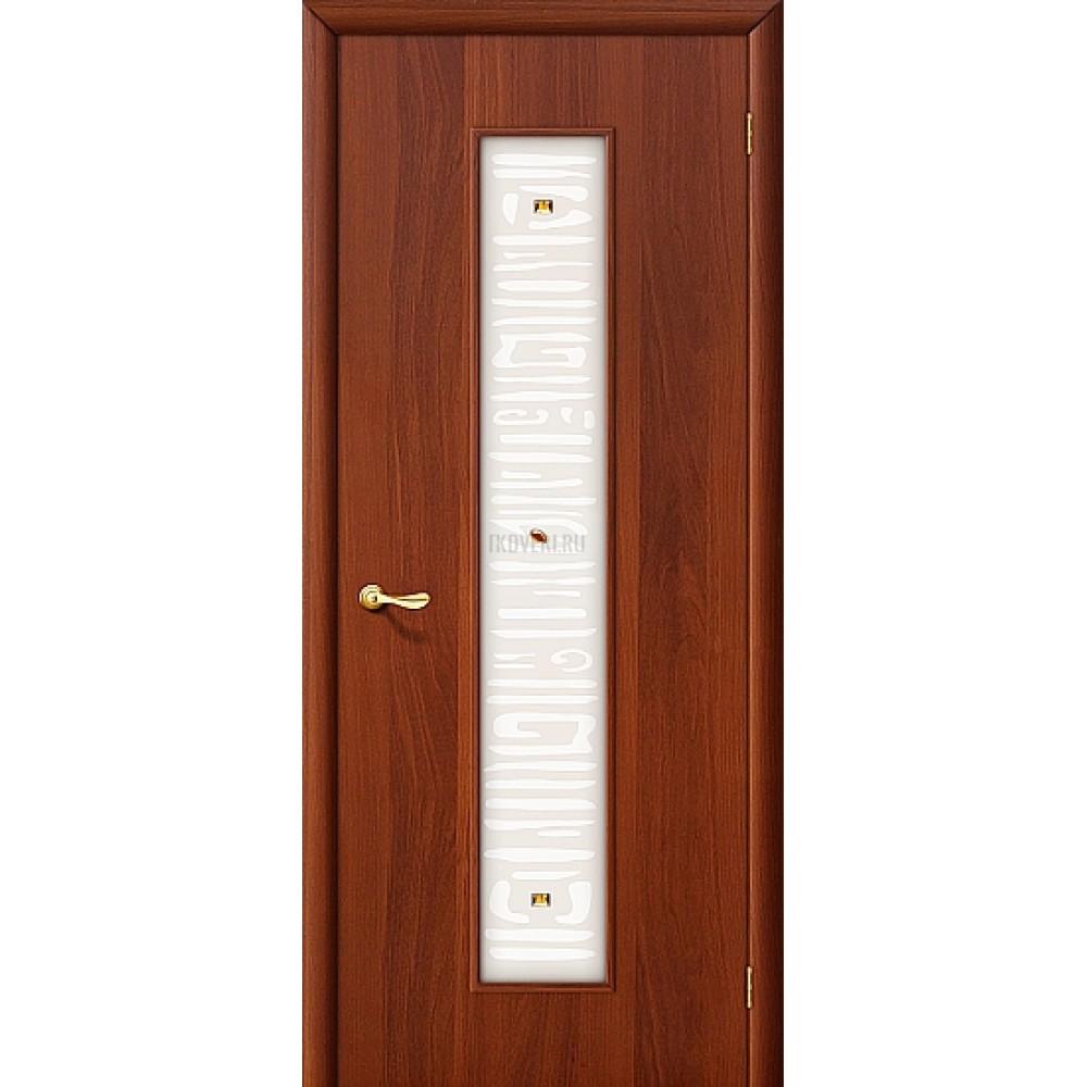 Ламинированная дверь МДФ белое художественное стекло ИталОрех 010-0240