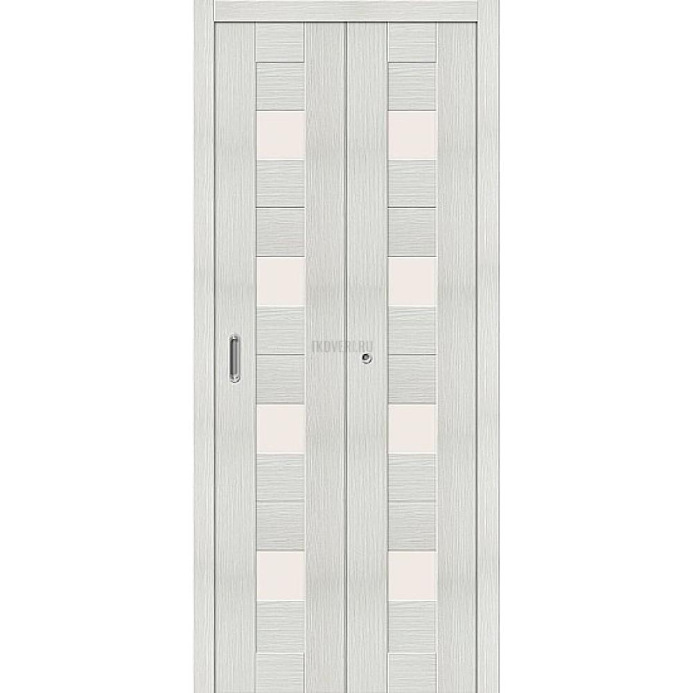 Дверь книжка Эко Шпон Порта-23 Bianco Veralinga стекло сатинато
