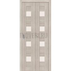 Дверь книжка Эко Шпон Порта-23 Cappuccino Veralinga стекло сатинато белое