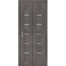 Дверь книжка Эко Шпон Порта-22 Grey Veralinga стекло сатинато белое