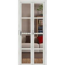 Дверь книжка  Эко Шпон Твигги V4 Bianco Veralinga стекло прозрачное