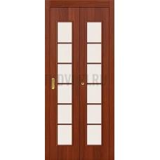 Дверь-книжка МДФ ИталОрех 010-0709 со стеклом