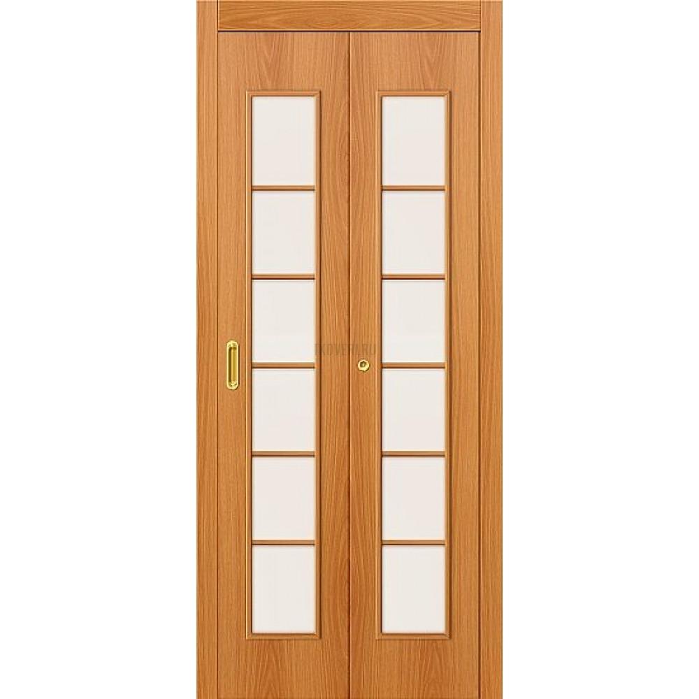 Дверь-книжка МДФ МиланОрех 010-0710 со стеклом