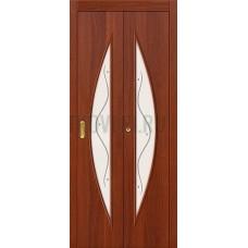 Дверь-книжка МДФ ИталОрех 091-0376 белое стекло