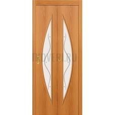 Дверь-книжка МДФ МиланОрех 091-0378 белое стекло