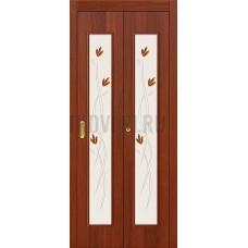 Дверь-книжка МДФ ИталОрех 091-0364 художественное стекло