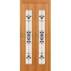Дверь-книжка МДФ МиланОрех 091-0370 Витраж