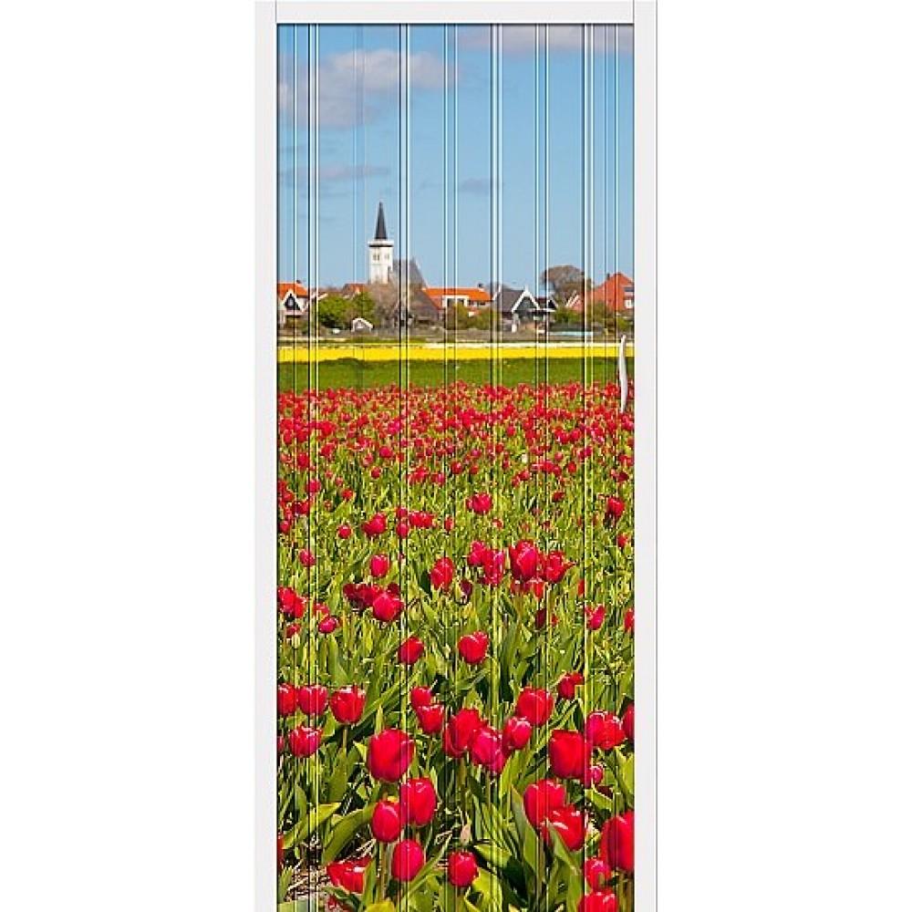 Дверь гармошка ПВХ Цветы