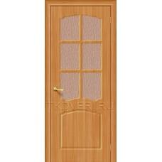 Дверь ПВХ Альфа Миланский орех остекленная