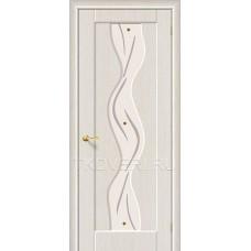 Дверь ПВХ Вираж Беленный дуб остекленная