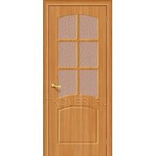 Дверь ПВХ Кэролл Миланский орех остекленная