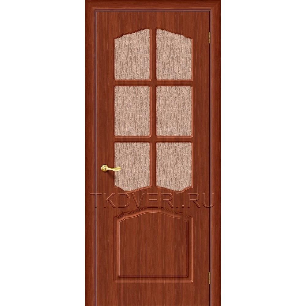 Дверь ПВХ Лидия Итальянский орех остекленная