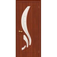 Дверь ПВХ Лотос Итальянский орех остекленная