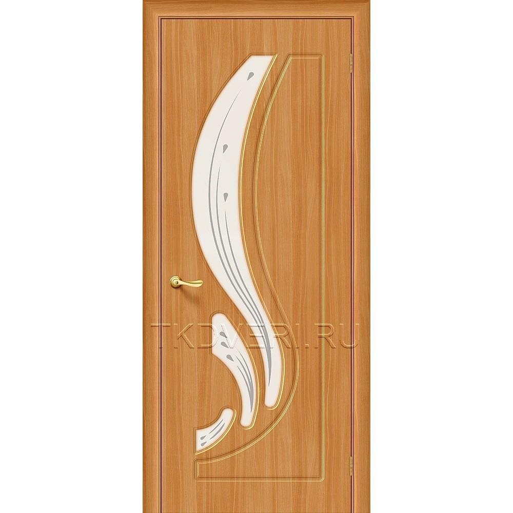 Дверь ПВХ Лотос Миланский орех остекленная