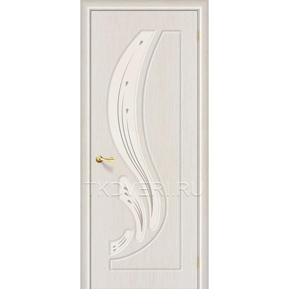 Дверь ПВХ Лотос Беленный дуб остекленная