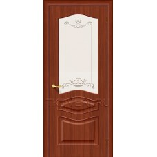 Дверь ПВХ Модена Итальянский орех остекленная