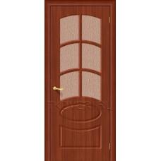 Дверь ПВХ Неаполь Итальянский орех остекленная