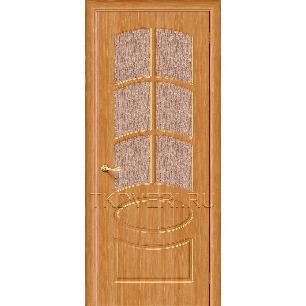 Дверь ПВХ Неаполь Миланский орех остекленная