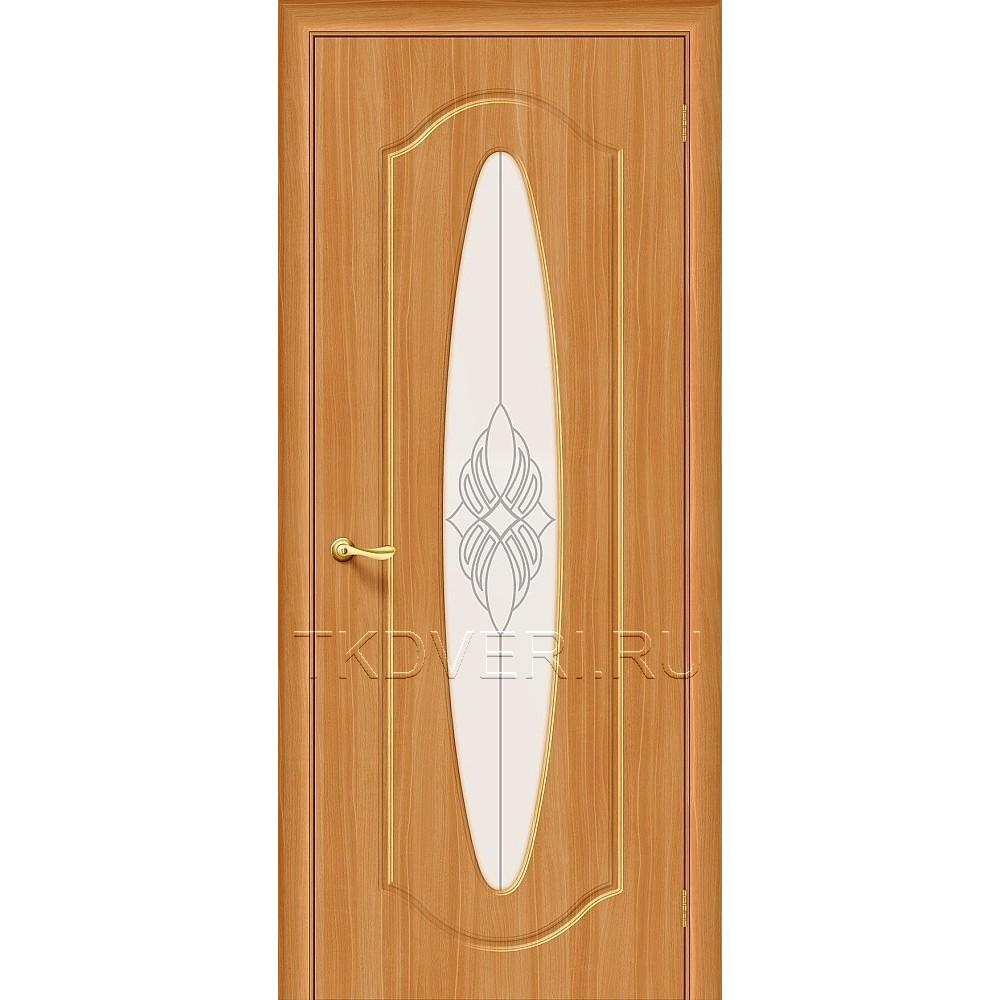 Дверь ПВХ Орбита Плюс Миланский орех остекленная