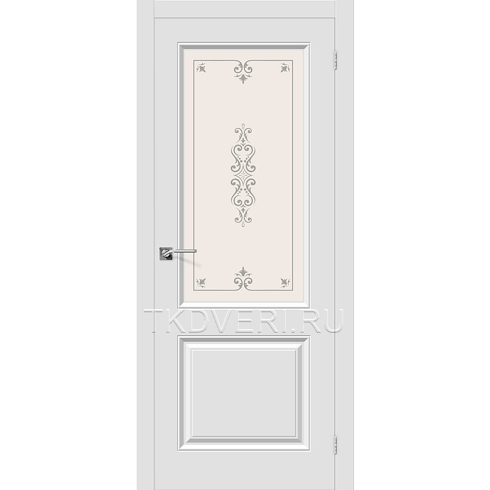 Дверь ПВХ Скинни-13 Белый остекленная