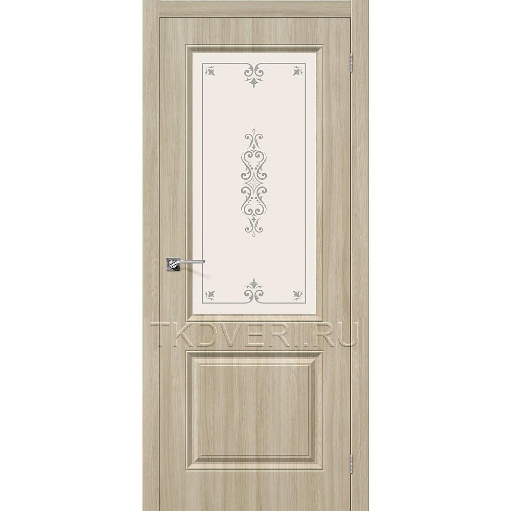 Дверь ПВХ Скинни-13 Шимо светлый остекленная