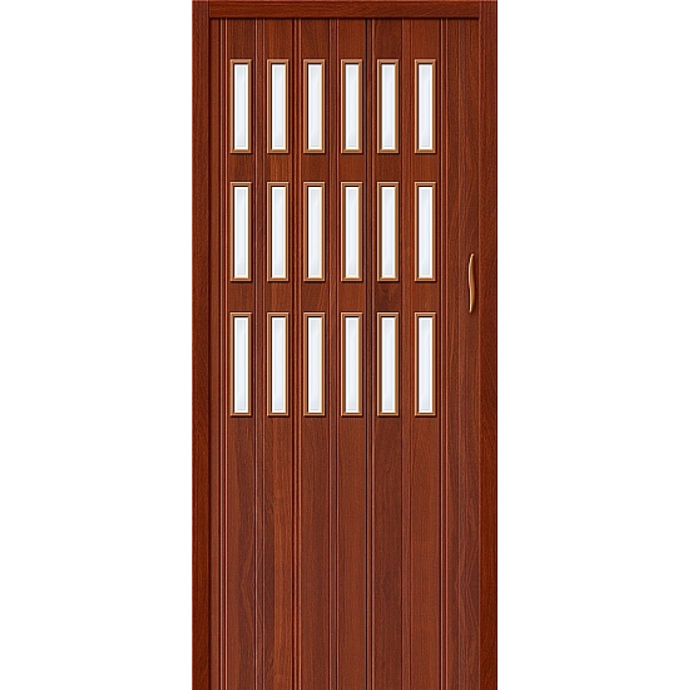 Дверь гармошка ПВХ ИталОрех стекло