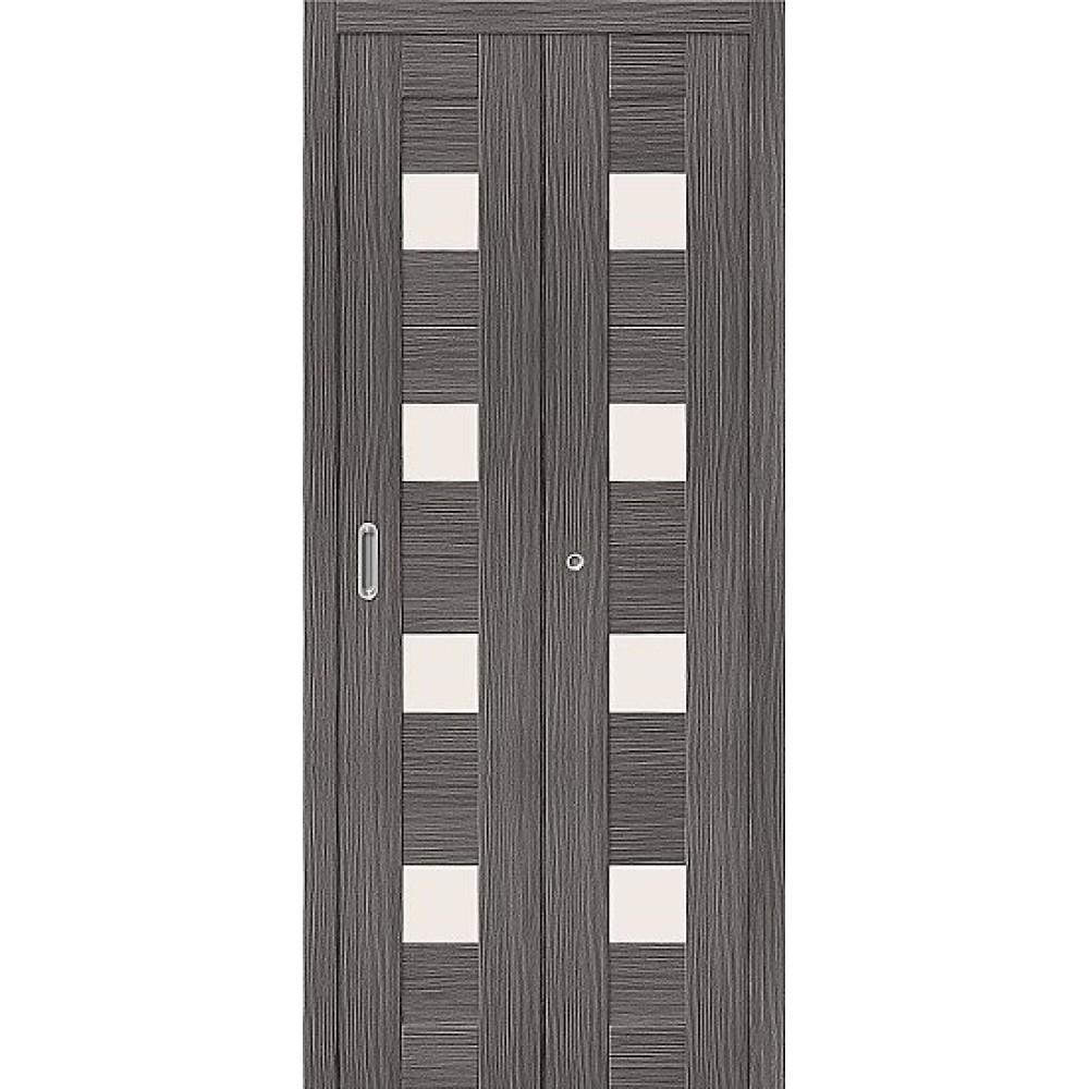Дверь книжка Эко Шпон Порта-23 Grey Veralinga стекло сатинато белое