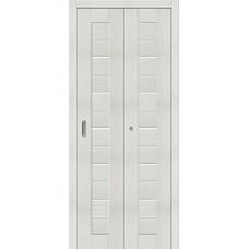 Дверь книжка Эко Шпон Порта-22 Bianco Veralinga стекло сатинато белое