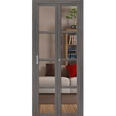 Дверь книжка  Эко Шпон Твигги V4 Grey Veralinga стекло прозрачное