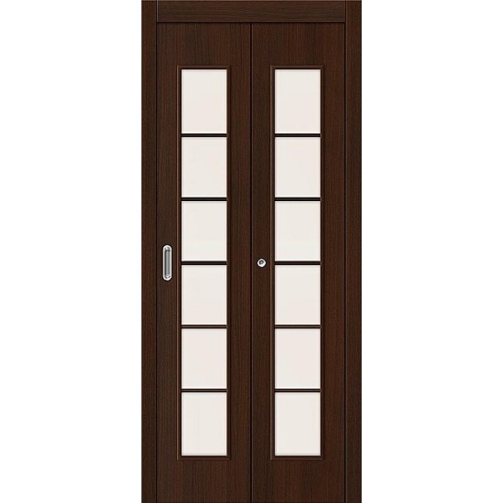 Межкомнатная дверь-книжка МДФ Венге 091-0372 со стеклом