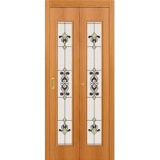 Межкомнатная дверь-книжка МДФ МиланОрех 091-0370 Витраж