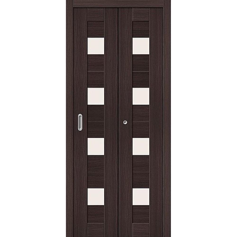 Дверь книжка Эко Шпон Порта-23 Wenge Veralinga стекло сатинато белое