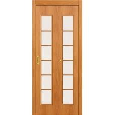 Межкомнатная дверь-книжка МДФ МиланОрех 010-0710 со стеклом