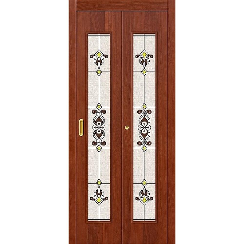 Межкомнатная дверь-книжка МДФ ИталОрех 091-0368 Витраж