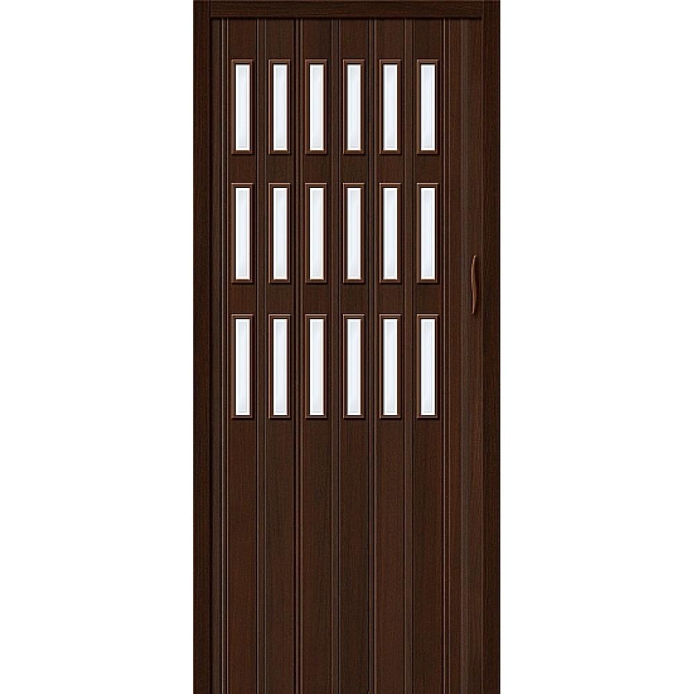 Дверь гармошка ПВХ Венге стекло