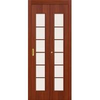 Межкомнатная дверь-книжка МДФ ИталОрех 010-0709 со стеклом