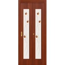 Межкомнатная дверь-книжка МДФ ИталОрех 091-0364 художественное стекло