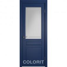 К2 COLORIT ДО матовое с фрезеровкой полосы Синяя эмаль