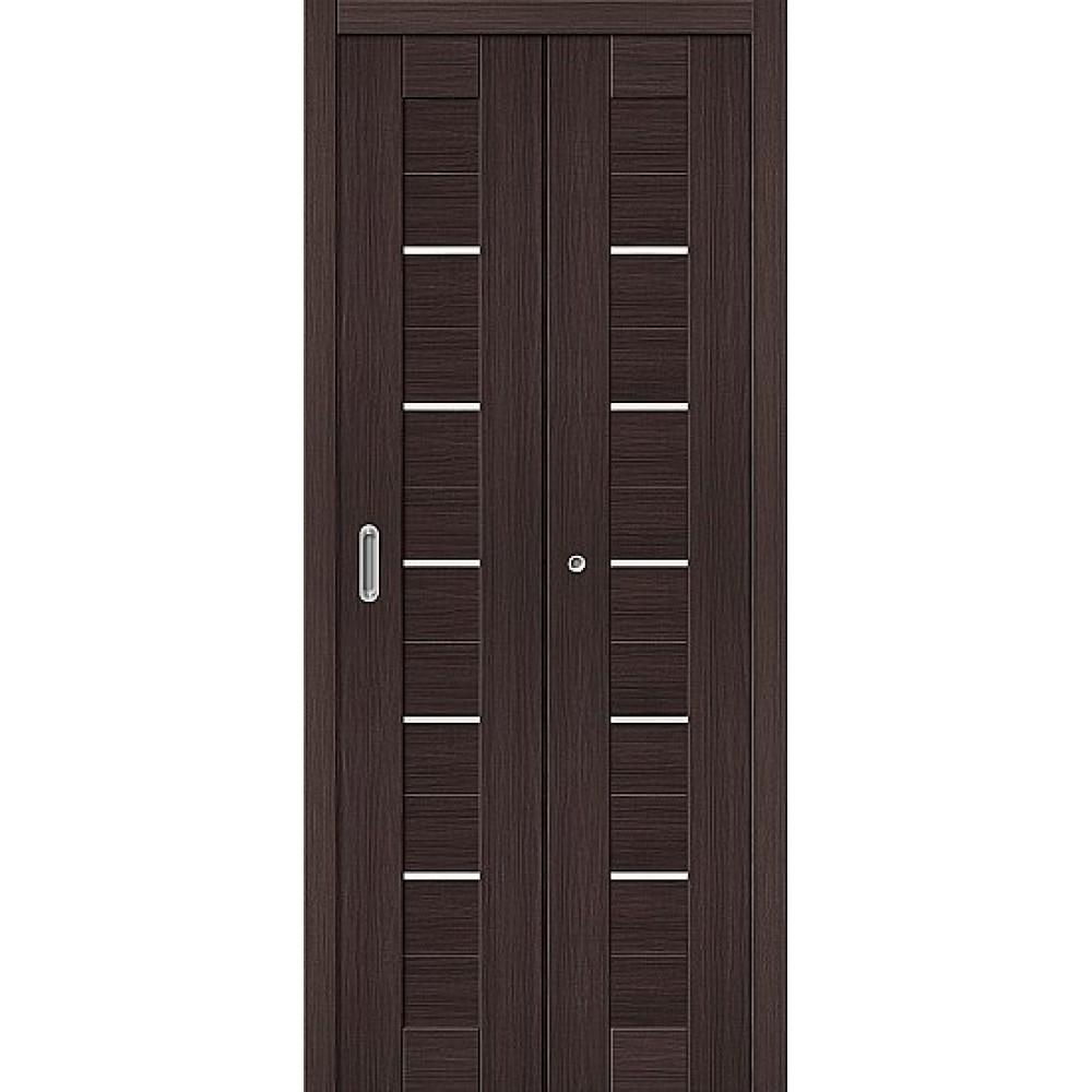 Дверь книжка Эко Шпон Порта-22 Wenge Veralinga стекло сатинато белое