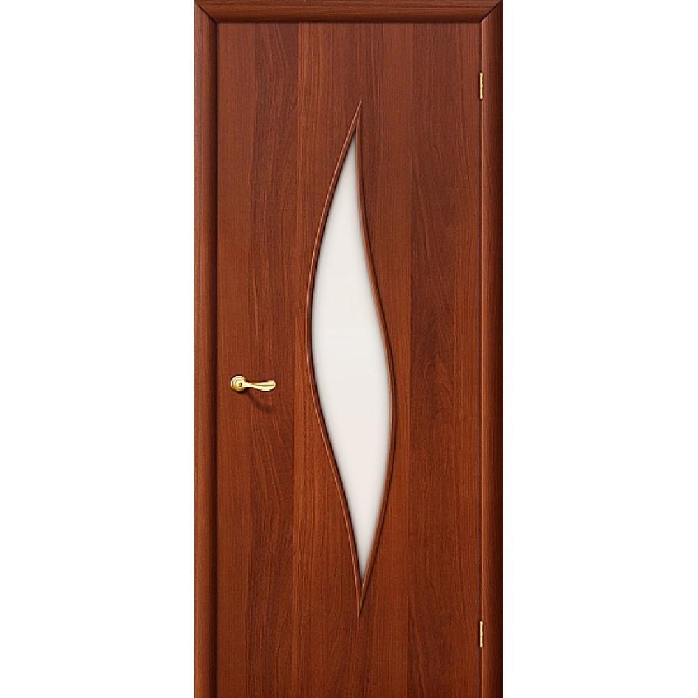 Ламинированная дверь со стеклом МДФ с отделкой ИталОрех 010-0063