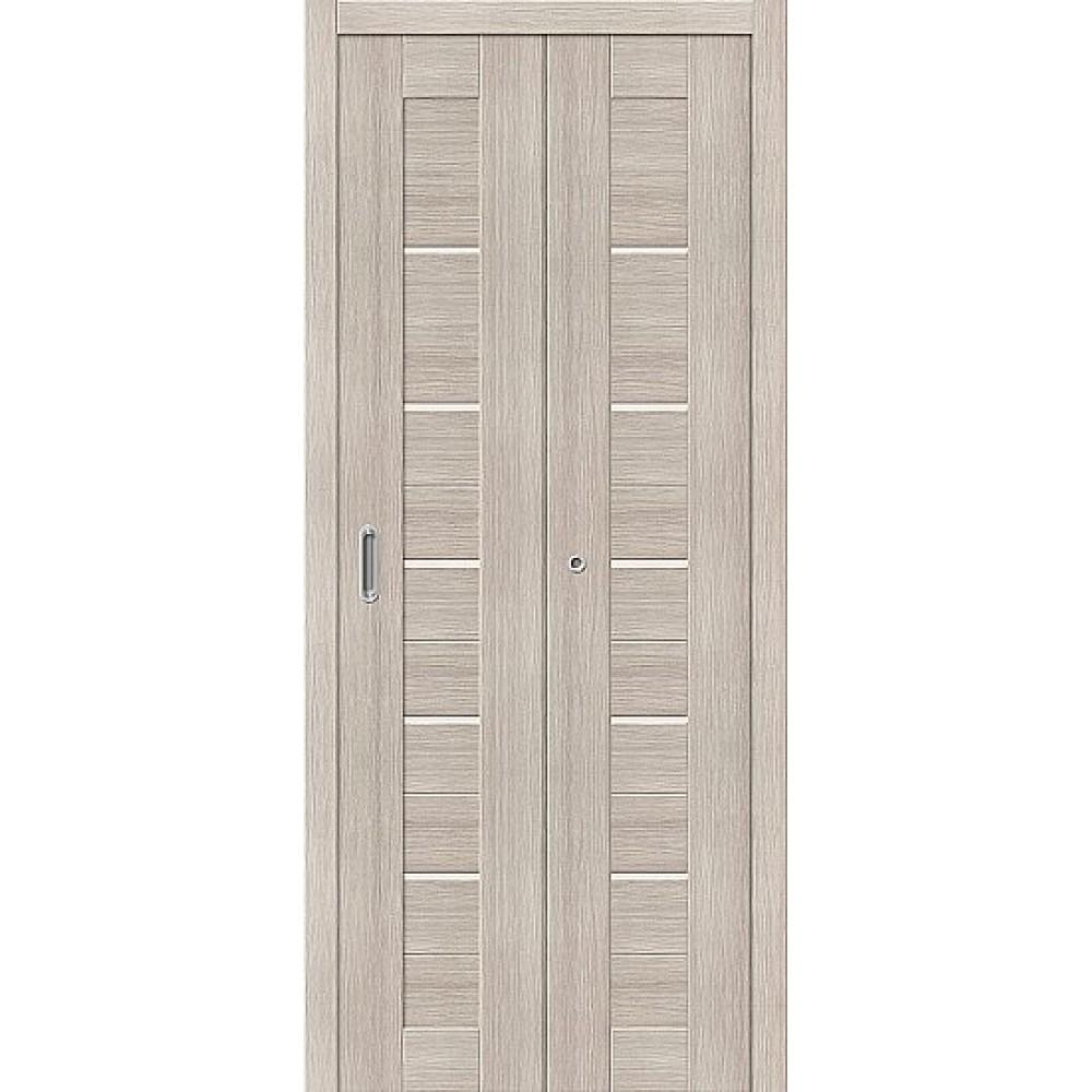 Дверь книжка Эко Шпон Порта-22 Cappuccino Veralinga стекло сатинато белое