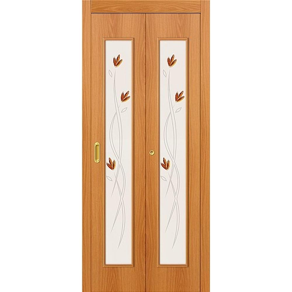 Межкомнатная дверь-книжка МДФ МиланОрех 091-0366 художественное стекло