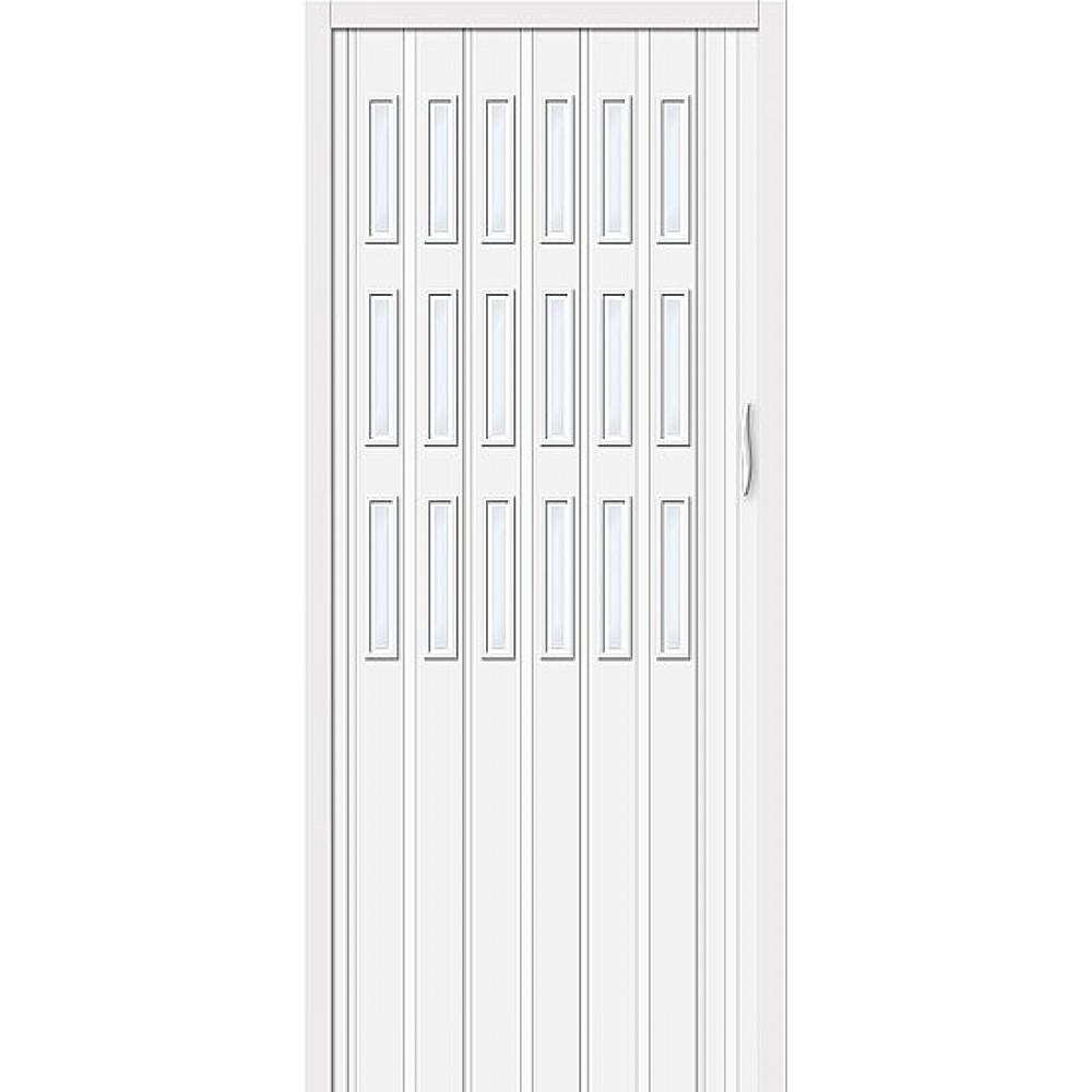 Дверь гармошка ПВХ Белый дуб стекло