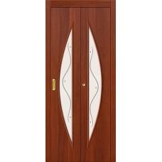 Межкомнатная дверь-книжка МДФ ИталОрех 091-0376 белое стекло