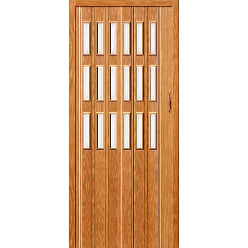 Дверь гармошка ПВХ МиланОрех стекло